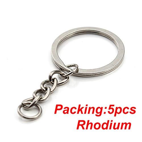 HUANGSAN 5-20 Stück/Los Schlüsselanhänger Ring Schlüsselbund Bronze Rhodium Gold 28mm Lange runde Geteilte Schlüsselringe Schlüsselbund Schmuckherstellung DIY, 5PCS Rhodium
