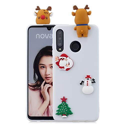 SEEYA Case for Huawei P30 Lite White Santa Claus Christmas Tree Reindeer Snowman Phone Case Silicone TPU Ultra Slim Cute Xmas Gift 3D Cartoon Soft Shockproof Protective Bumper Cover