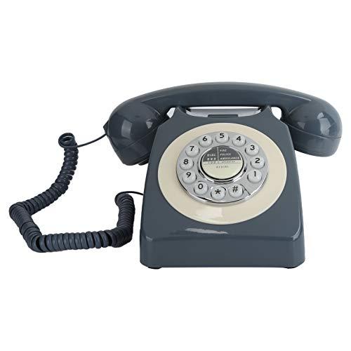 Goshyda Teléfono con Cable, teléfono Fijo de Estilo Europeo, Llamada de Alta definición, botón Transparente Grande, teléfono de Estilo Pastoral, clásico Retro Antiguo, para Oficina en casa