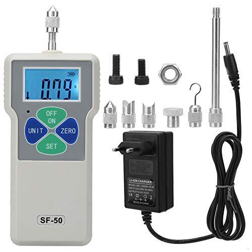 Kraftmesser, SF-50 Tragbares Push-Pull-Messgerät Digital Force Gauge Dynamometer 50 N / 5 kg / 11 lb 100-240 V Messgeräte(EU-Stecker)