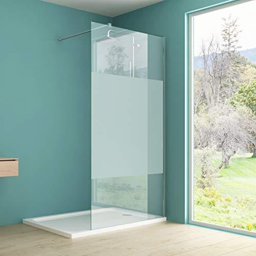 IMPTS Glaswand dusche 90x200cm duschwand glas walk in Dusche Duschabtrennung mit Stabilisator aus 8mm ESG-Sicherheitsglas Teilsatiniert Glas inkl. Nanobeschichtung