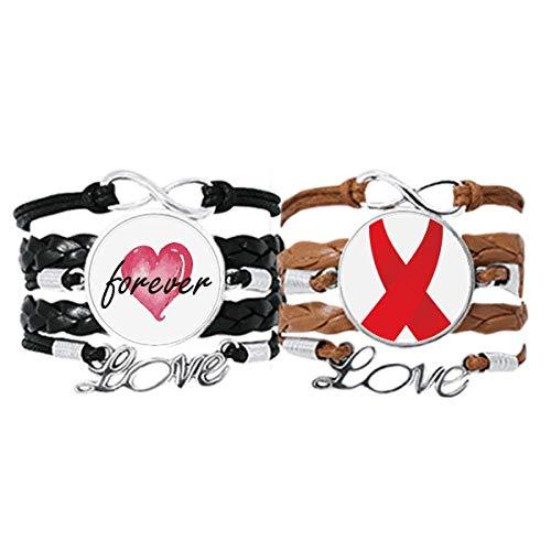 Bestchong Red Ribbon HIV Concientización Día Mundial del SIDA Pulsera Correa de mano Cuerda de cuero Forever Love Wristband Set doble