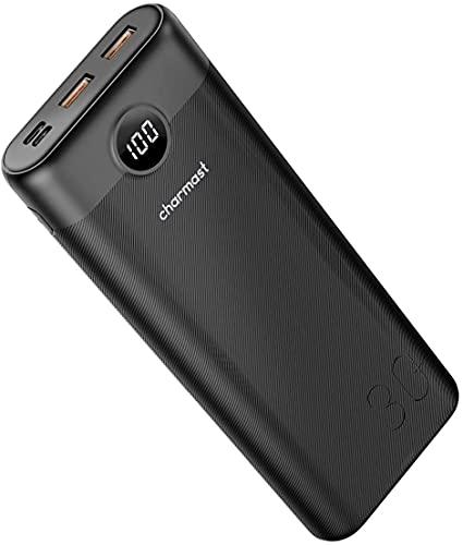 Charmast power bank 30000mah, USB C Ricarica Rapida con QC3.0 e PD Caricatore Portatile,LED display Batteria Esterna con 2 Ingresso & 3 Uscita per MacBook Nintendo Switch iPhone Samsung
