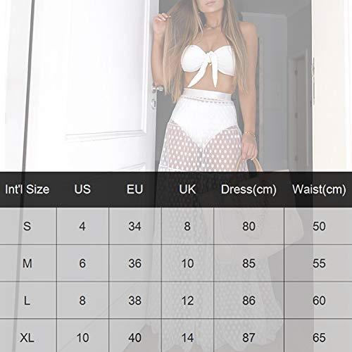 Falda de Bikini Bordado Puntos Redondos para Mujer Transparente Ropa de Baño Playa Suelta de Moda Falda Larga para Bikini Verano etc (Blanco, L)