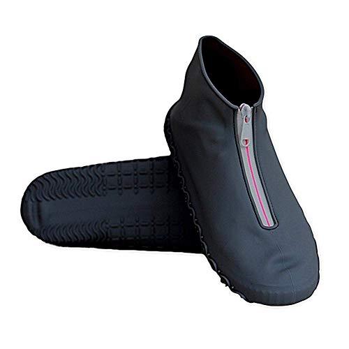 BLMDX Schuhüberzieher, wasserdicht, wiederverwendbar, aus Silikon, mit Reißverschluss, rutschfest, für Kinder und Damen