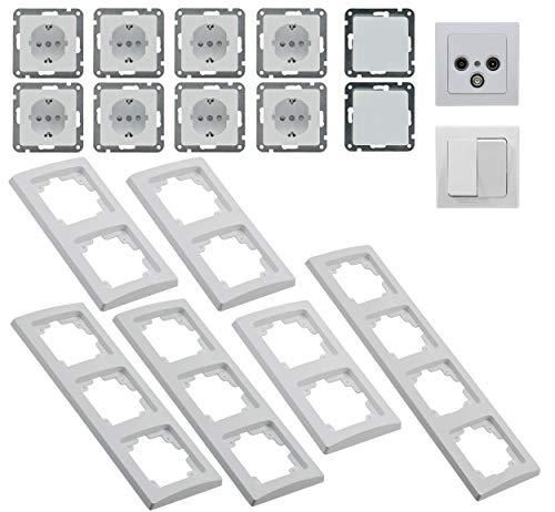 Delphi Enchufes Interruptor de Salón 20 Piezas Interruptor de Luz con Enchufe TV Antena empotrada I Blanco