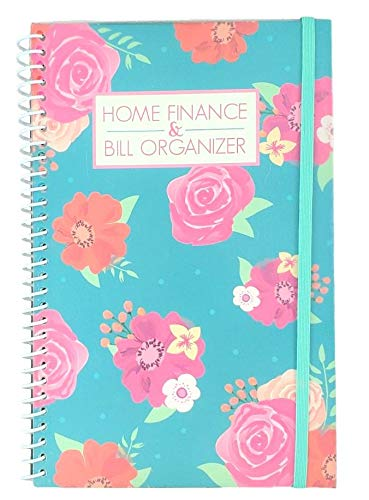Home Finance & Bill Organizer with Pockets (Pink Flowers On Teal)