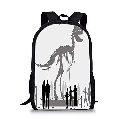 AOOEDM Backpack Dinosaur Stylish School Bag,Silhouettes of People Looking at a Tyrannosaurus Rex Skeleton in a Museum Decorative for Boys,11''L x 5''W x 17''H