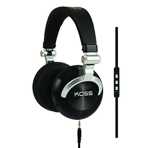 Koss Pro DJ200 Stereo Over-Ear DJ Kopfhörer Faltbar mit 3-Tasten Fernbedienung / Mikrofon und Spiralkabel - Schwarz