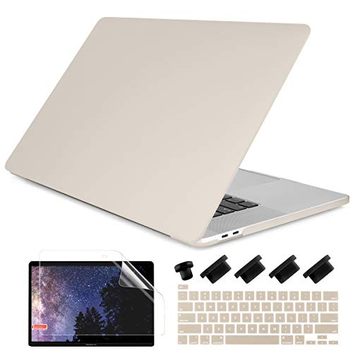 Dongke MacBook Pro 13 inch Case 2019 2018 2017 2016 Release A2159 A1989 A1706 A1708, Cream Color Series Matte Plastic Hard Shell Cover for MacBook Pro 13 with Touch Bar Retina Display Stone