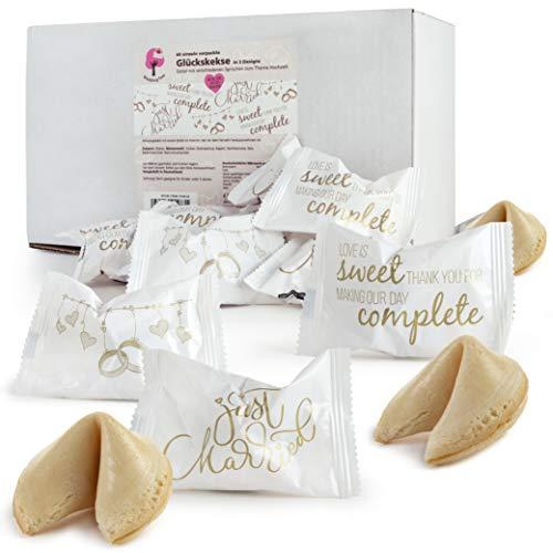 WeddingTree 60 x Glückskekse Hochzeit einzeln verpackt - Glückskekse mit Sprüchen deutsch - Gastgeschenk für Hochzeit und Verlobung - Made in Germany