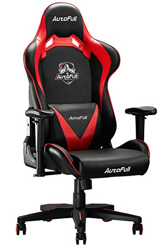 AutoFull Gaming Chair Ergonomic Racing Style Office Chair High Back Computer Chair PU Leather Adjustable Recliner (Dark Red)