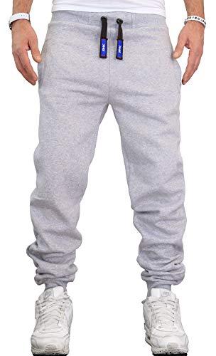 RMK Herren Hose Jogginghose Trainingshose Fitnesshose Sweatpants Uni Einfarbig H.02 neu Hell-Grau M