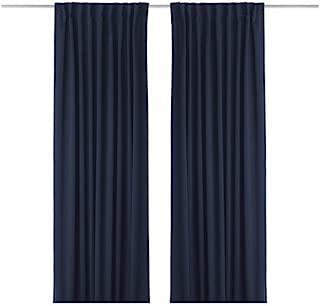 IKEA WERNA - Blackout curtains, 1 pair, dark blue - 145x300 cm
