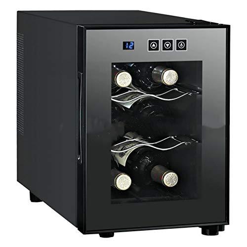 Enfriador vino Armario para vinos temperatura constante de 6 botellas con puerta vidrio templado Refrigerador con ahorro energía Panel control con botón enfriamiento rápido Luz fría LED alto b