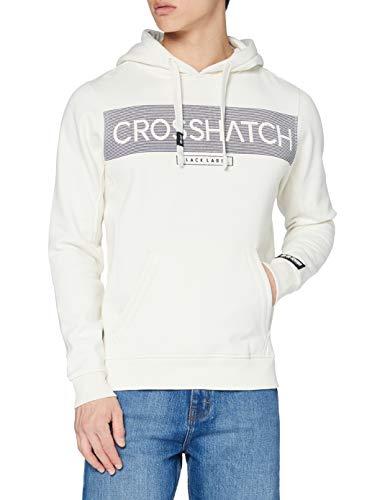 Crosshatch Hideout Felpa con Cappuccio, Bianco Sporco, S Uomo
