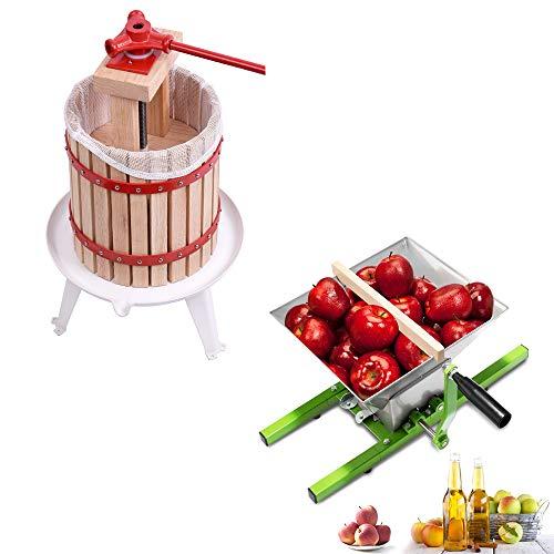 HENGMEI 12L Prensa de Fruta Prensa de Fruta Manzana Prensa Exprimidor maische y 7L Fruta Trituradora Manual Molinillo para las uvas las, manzanas