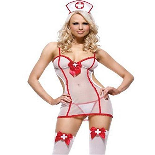 Erotischer Schlafanzug Sex Dessous Unterwäsche Krankenschwester Cosplay Uniform Weiß Sexy Perspektive Versuchung Anzug Rollenspiele Heiße Frauen Erotik Babydoll Dress-White_One_Size