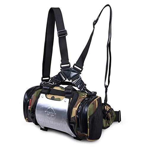 SINCERE@ Personnalité double sac bandoulière sac à dos multifonctionnel équitation d'extérieur sac homme épaule sac de sport (Camo)