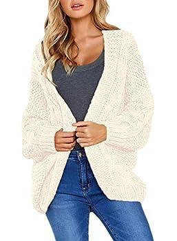 Dearlove Ladies Winter Warm Cozy Open Front Cardigans for Women Long Sleeve Chunky Knit Sweater Outwear Coat Plus Size Cream 2XL