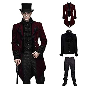 Devil Fashion Men Victorian Gothic Vintage 3-Piece Suit Tailcoat Shirts Pants Set