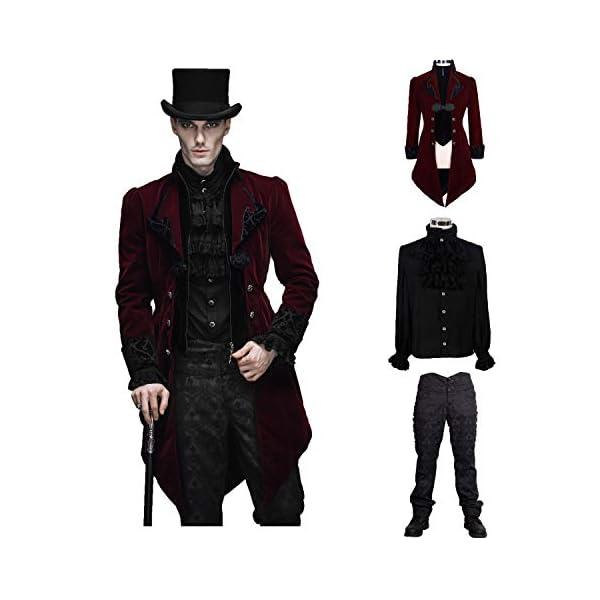 Devil Fashion Men Victorian Gothic Vintage 3-Piece Suit Tailcoat Shirts Pants Set 3