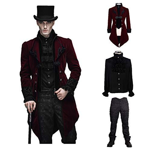 Devil Fashion Men Victorian Gothic Vintage 3-Piece Suit Tailcoat Shirts Pants Set(XXXL) Wine Red