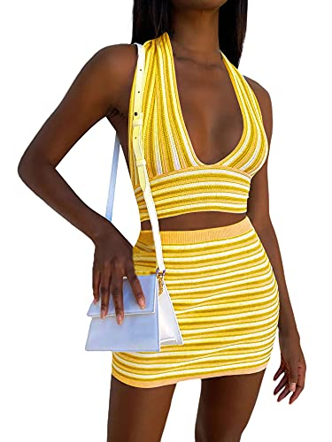 Dghisre Women Sexy Clothes Outfits Stripe Pattern Deep V-Neck Crop Tops with High Waist Wrap Skirt Bodycon Mini Party Skirt (Ye