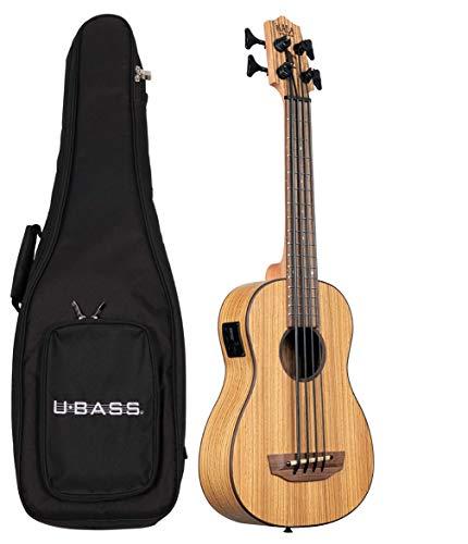 Kala U-BASS - Ukelele de bajo traste de madera de cebra con bolsa acolchada de lujo, UBASS-ZEB-FS