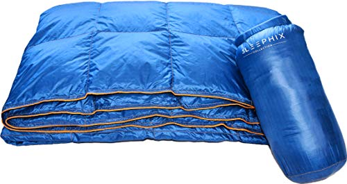 SLEEPHIX Down Camping Blanket - Outdoor Lightweight Packable - Water Repellent - Nylon Shell Down Filling - Ideal for Camping, Airplane Travel, Sailing, Terrace, Festivals, Backpacking & Home Use