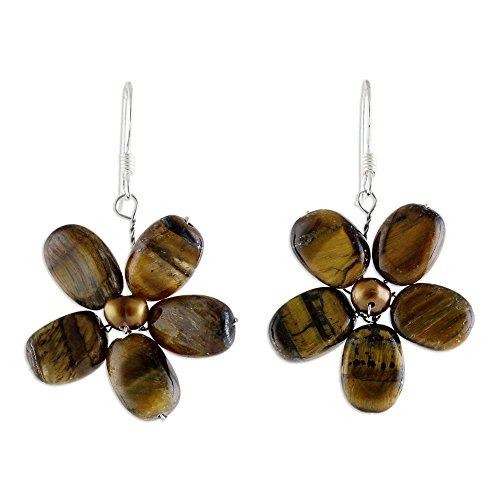 NOVICA Cultured Freshwater Pearl and Tiger's Eye Flower Earrings with Silver Hooks, Paradise'