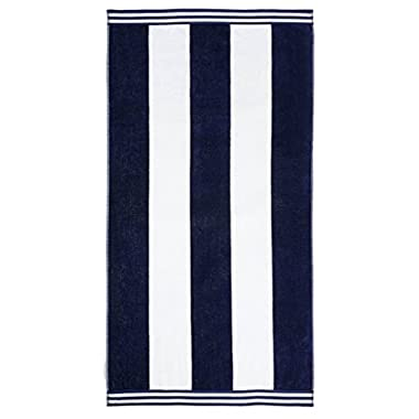 Superior Luxurious 100% Cotton Beach Towels, Oversized 34  x 64 , Soft Velour Cotton and Absorbent Cotton Terry, Thick and Plush Striped Beach Towels - Blue Cabana Stripes