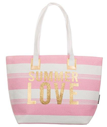Bari BRANDSSELLER Strandtasche Sommer Love Damen Schultertasche Shopper Sommer Tasche Druckknopf Verschluss Größe 54x18x35 cm - Rosa