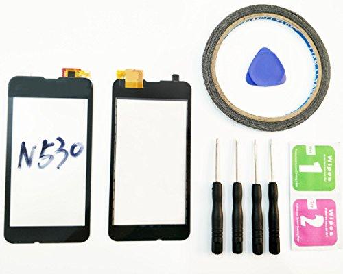 JRLinco Microsoft Nokia Lumia N530 530 Outer Glas Lens Touch Panel Bildschirm Touchscreen Ersatzteil (Ohne LCD) Für schwarz + Werkzeuge & doppelseitigen Kleber + Alkohol Reiniger Paket