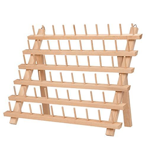 Kurtzy Garnrollenhalter aus Holz zur Aufbewahrung von 60 Faden Spulen - Fadenhalter Spulenhalter Garnrollen Organizer zum Aufhängen an Wand oder Aufstellen – Nähgarnhalter Buchenholz Nähorganizer