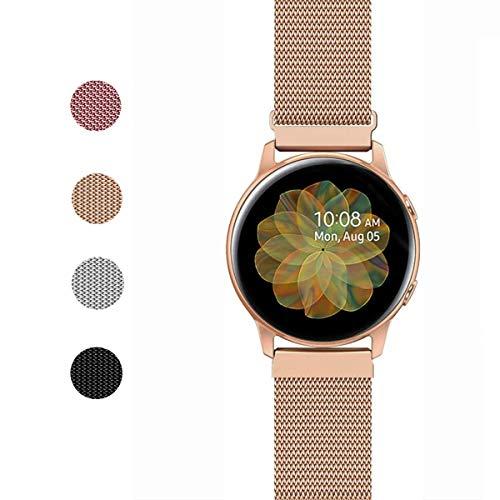 ANNYOO Armband für Samsung Galaxy Watch 42 mm, 20 mm Stegbreite Mesh Edelstahl Uhrenarmband Metall Armband für Galaxy Watch Active/Gear Sport/Garmin Vivoactive 3/3 Music (Roségold)