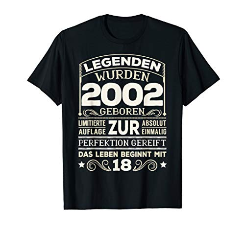 18. Geburtstag Junge Mädchen Mann Frau 18 Jahre Geschenk T-Shirt