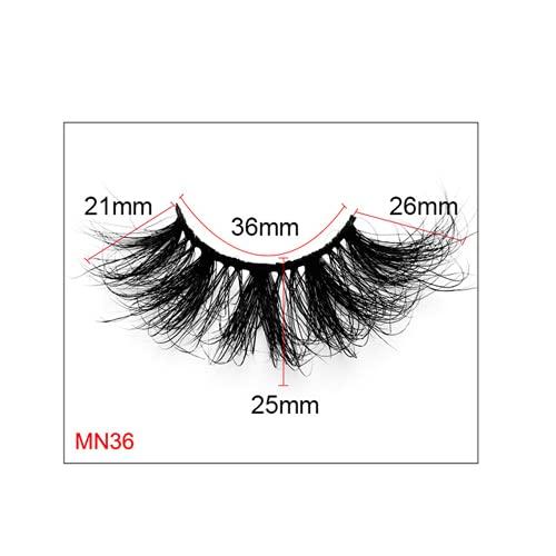 3D False Eyelashes, Reusable, Artificial Mink False Eyelashes Long and Thick Eyelashes, Used for Makeup Eyelash Extension, Handmade (MN36)