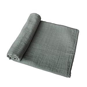 mushie Muslin Baby Swaddle Blanket | 100% Organic Cotton (Roman Green)