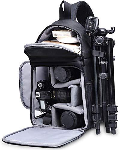 LHY Schwarz Kameratasche, Kamera Umhängetasche Sling Brusttasche Bag Wasserdicht für DSLR/SLR und Spiegelreflexkameras Canon Nikon Sony Pentax Stativ
