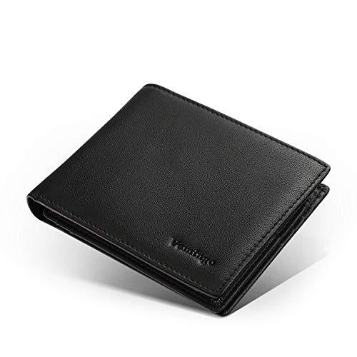Vemingo Portefeuille Homme RFID Blocage avec Poche à Monnaie | Porte-Carte pour Carte d'Identité, Carte Grise,Cartes de Crédit,2 Compartiments à Billets Cadeau (XB-63 Noir)