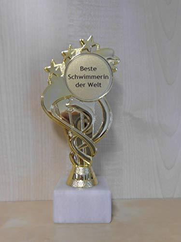 Fanshop Lünen Schwimmen - Pokal - Geschenk - Beste Schwimmerin der Welt - Geburtstag - Sportpokal - Gr. 19,5 cm - Trophäe - mit Gravur - (A333) -