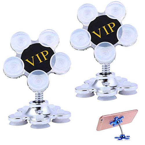 Yxxc 2 Pcs 2020 New Cell Phone Holder Sucker Stand 360 Degree Rotatable Metal Flower Magic Suction Cup Car Cradles Universal Mobilephone Bracket for Smartphones (Silver)