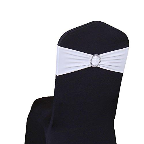 SINSSOWL, set di 100 fasce elastiche in elastan per sedie, per matrimoni, feste, fasce per sedie (senza coprisedia) bianco