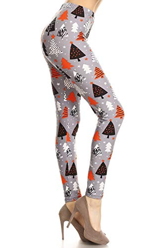 R860-OS Orange Christmas Printed Fashion Leggings, One Size