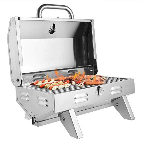 Haoo Tisch-Gasgrill, tragbarer Propan-Grill, mit verschließbarem Deckel für Outdoor-Grillen, Camping, Picknick, 12000 BTU