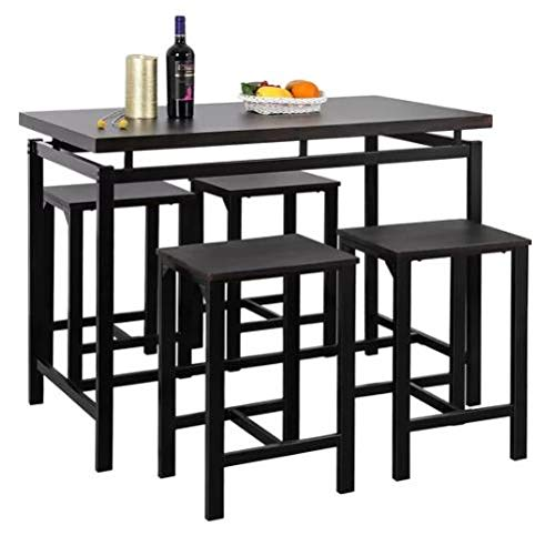 Knocbel Dining Table Set for 4, Kitchen Pub Bar Dining Room Set with Counter Table & Stools, Wooden Top and Metal Frame (Espresso and Black)