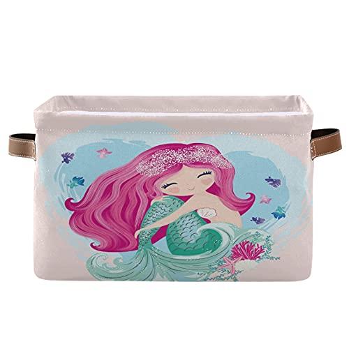 PUXUQU Schön Tier Meerjungfrau Mädchen Faltbare Aufbewahrungsbehälter Aufbewahrungsbox Aufbewahrungskorb mit Griff für Schrankregale Toy Office Nursery Bedroom