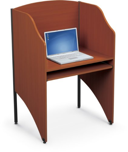 Balt Standard Floor Carrel Private Workstation Starter Unit Cherry
