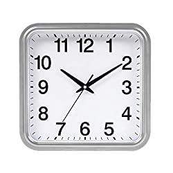 Wall Clock Square Quartz Clock, Wall Mounted, Quiet, Time Accurate, Easy to Watch Time, Can Be Used in Living Room/School/Office, 10 Inch